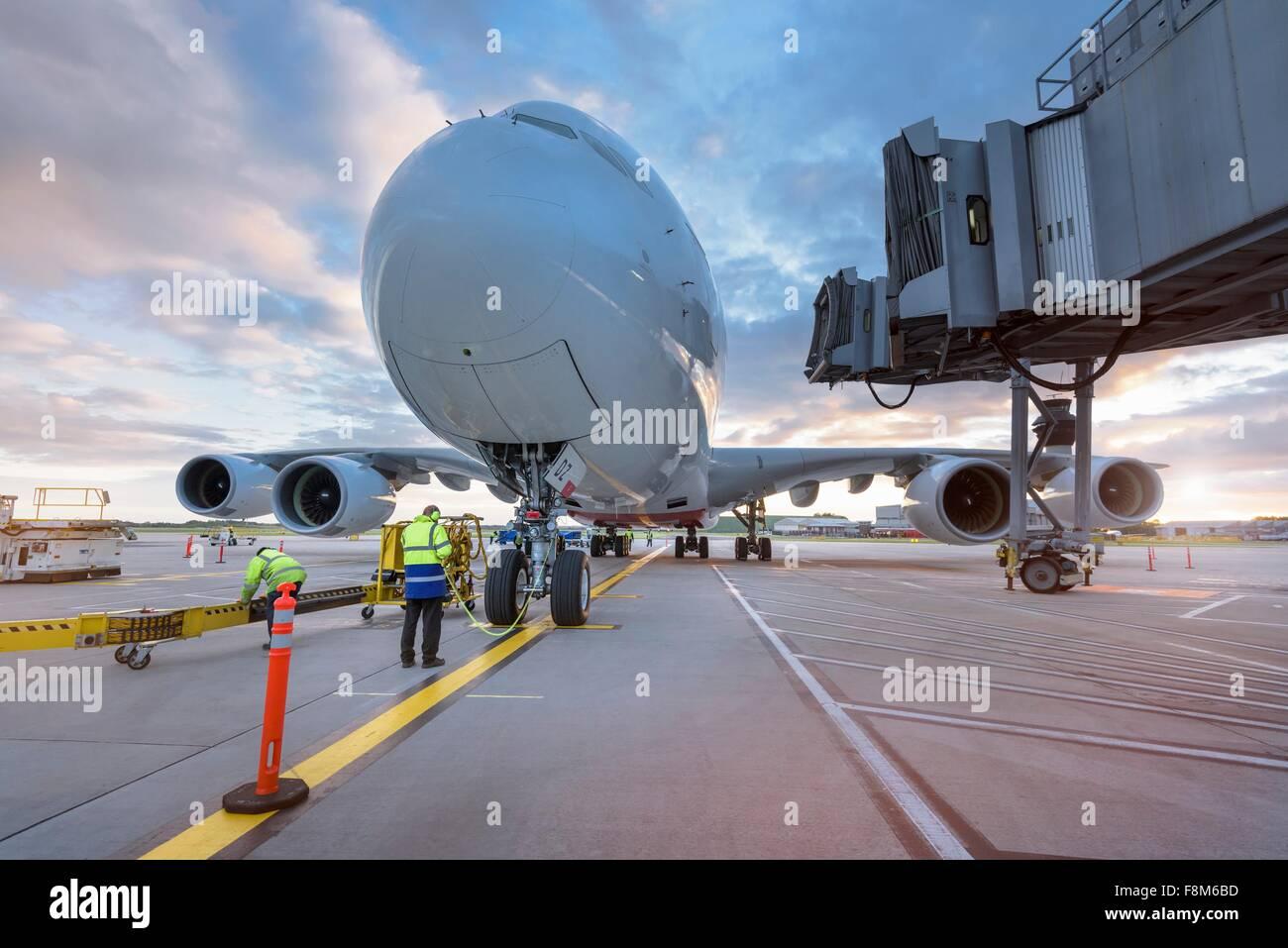 Un380 su supporto in aeroporto Immagini Stock