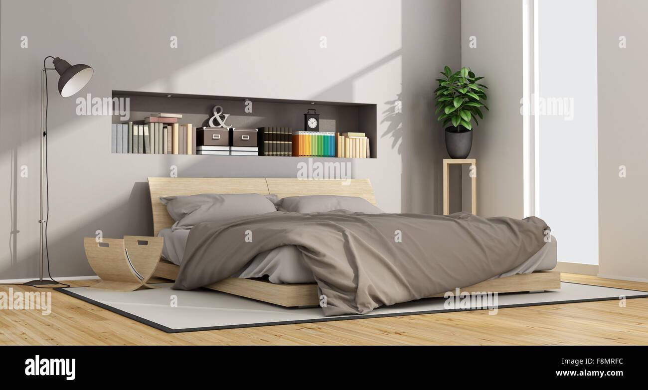 Sono luminose e contemporanee camere da letto in legno con letto ...