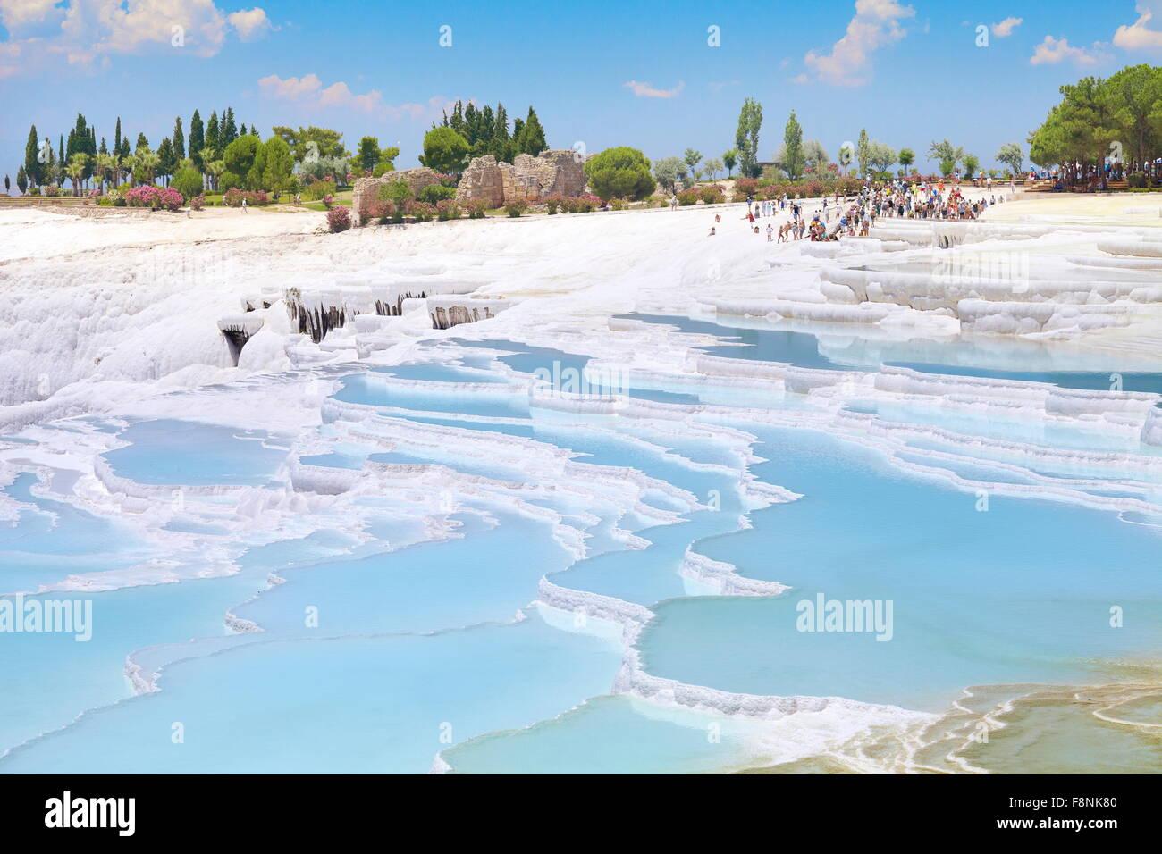 Pamukkale, terrazze di calcare, Turchia Foto Stock