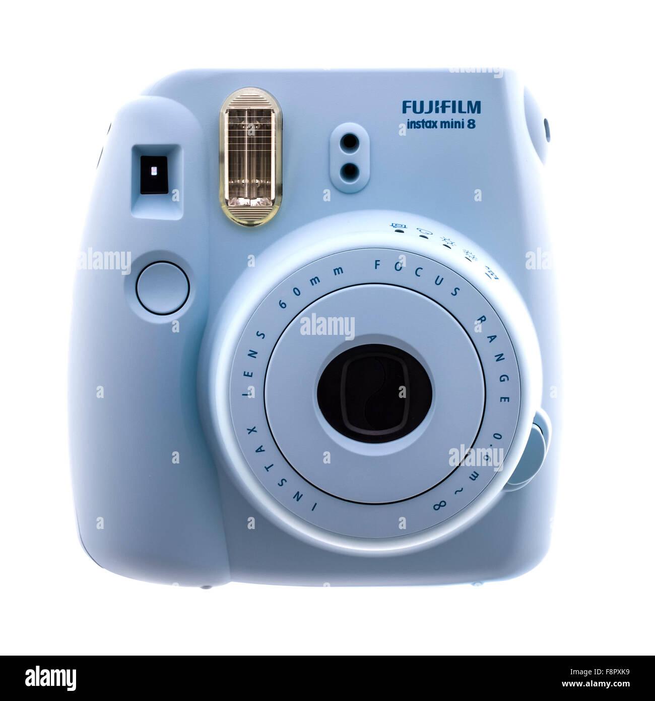 Fuji Film Instax Mini 8 telecamere su uno sfondo bianco Immagini Stock