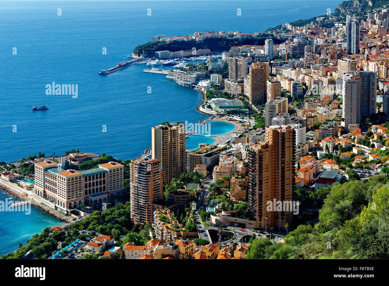 Il Principato di Monaco, con vista sulla città Immagini Stock