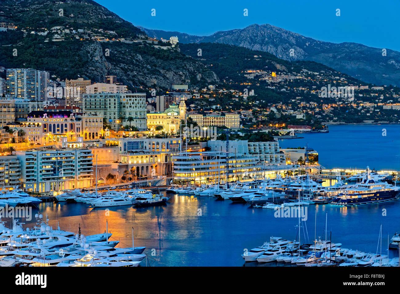 Porto di Monaco di Notte Immagini Stock