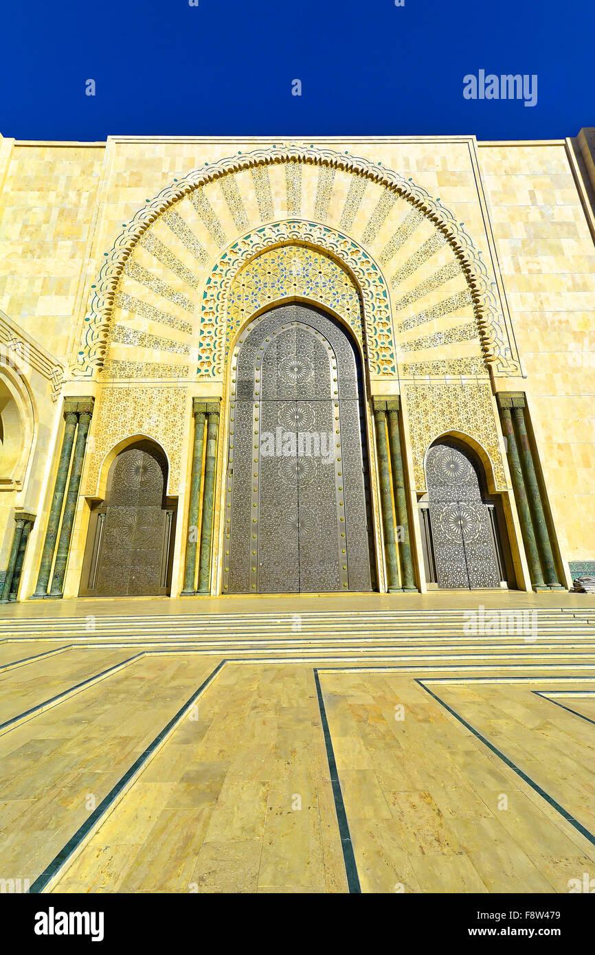 Casablanca Marocco Moschea Hassan II porta esterna dettaglio Immagini Stock