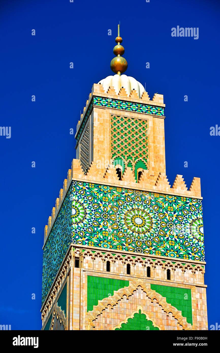 Casablanca Marocco Moschea Hassan II dettaglio della torre Immagini Stock