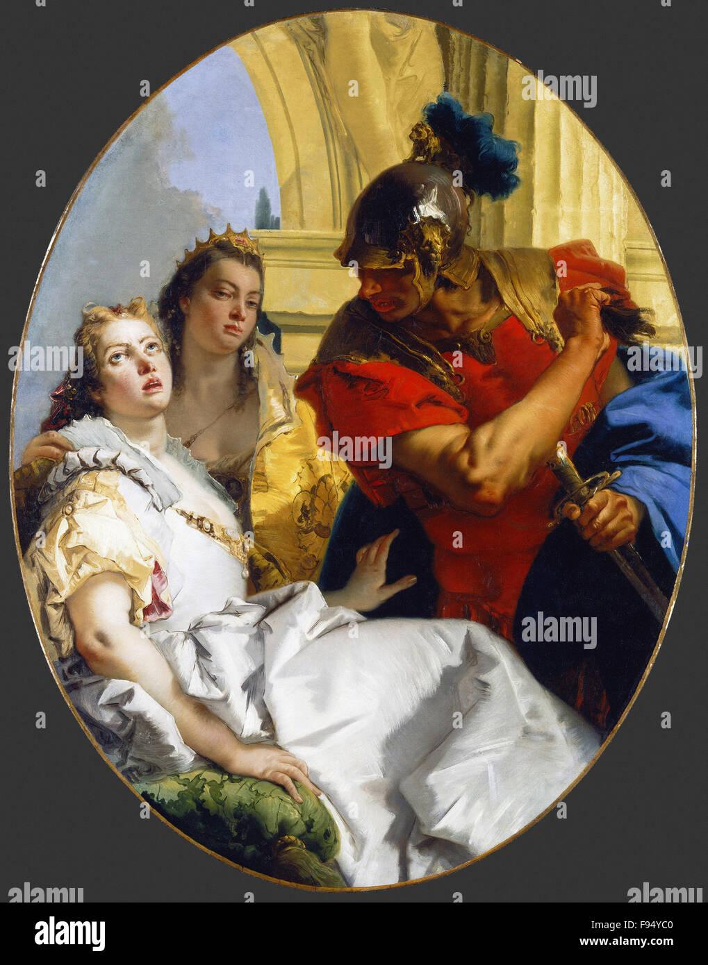 Giovanni Battista Tiepolo - Scena dalla storia antica Immagini Stock
