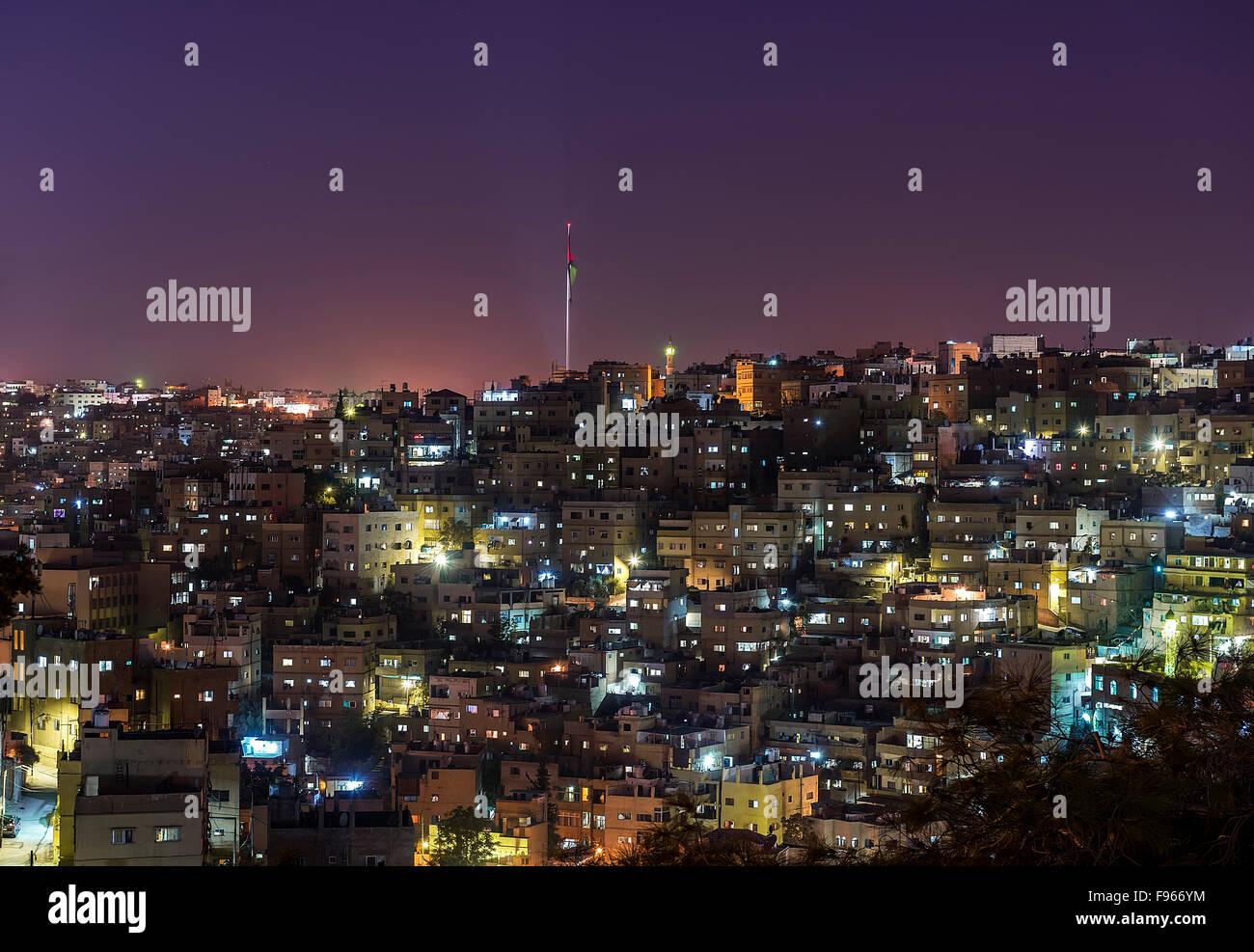 Amman entro la notte Immagini Stock