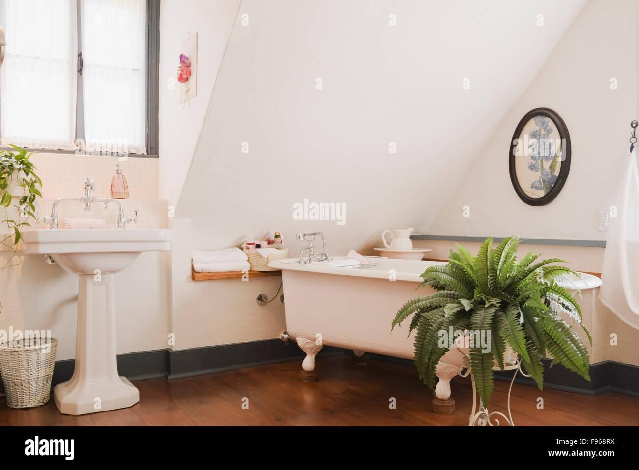Vasca Da Bagno Nella Camera Da Letto : Lavandino su di un piedistallo e un rolltop vasca da bagno nella