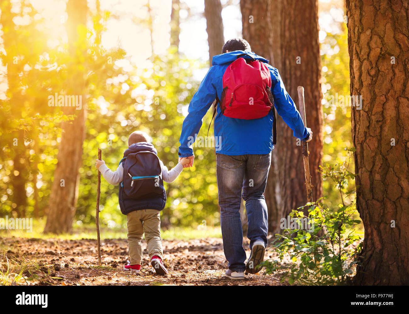 Padre e figlio a piedi durante le attività di trekking nella foresta di autunno al tramonto Immagini Stock
