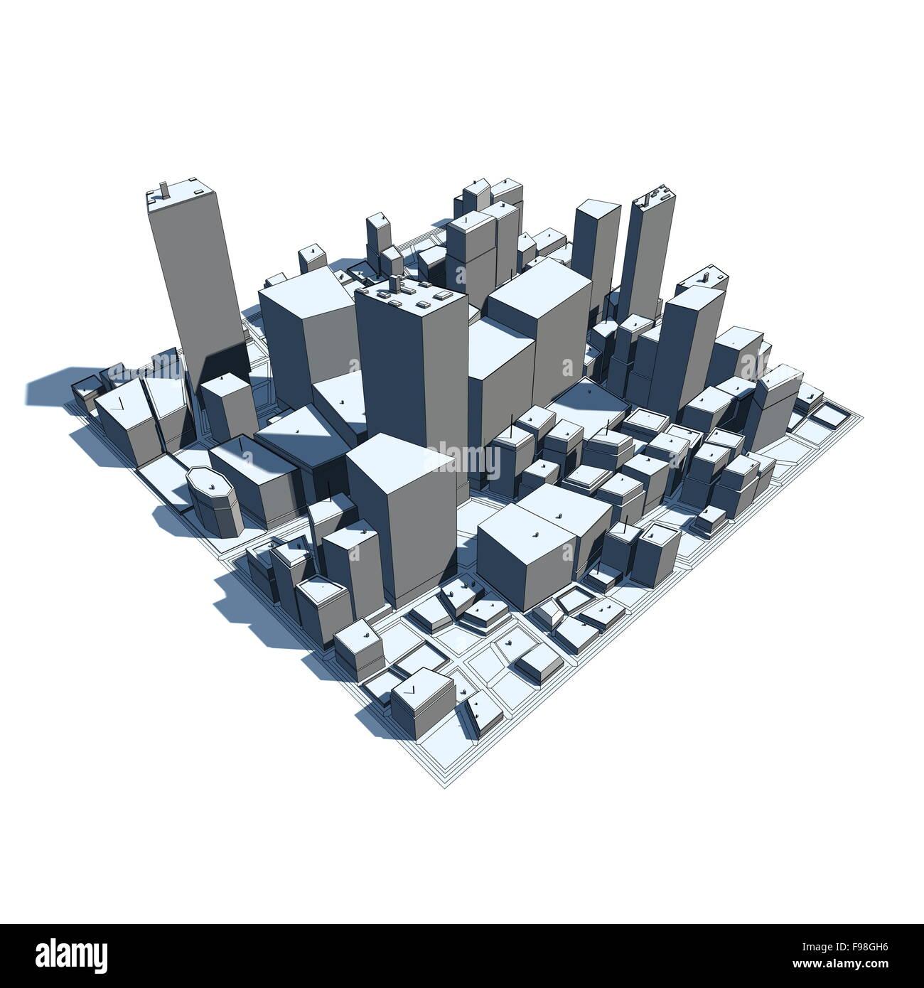 Cityscape modello 3D - Cartoon Syle Immagini Stock