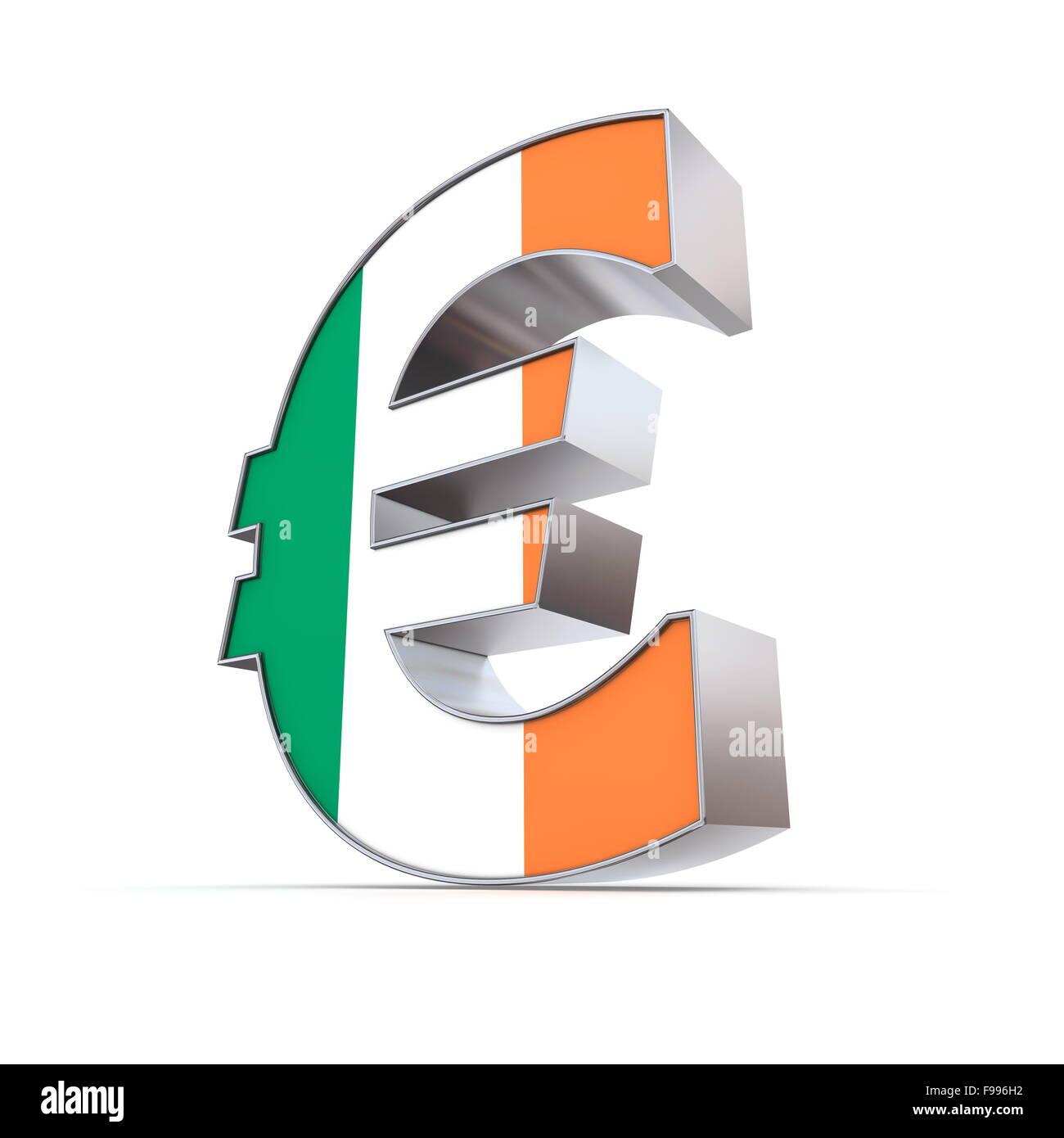Shiny simbolo Euro - Textured anteriore - Bandiera dell'Irlanda Immagini Stock