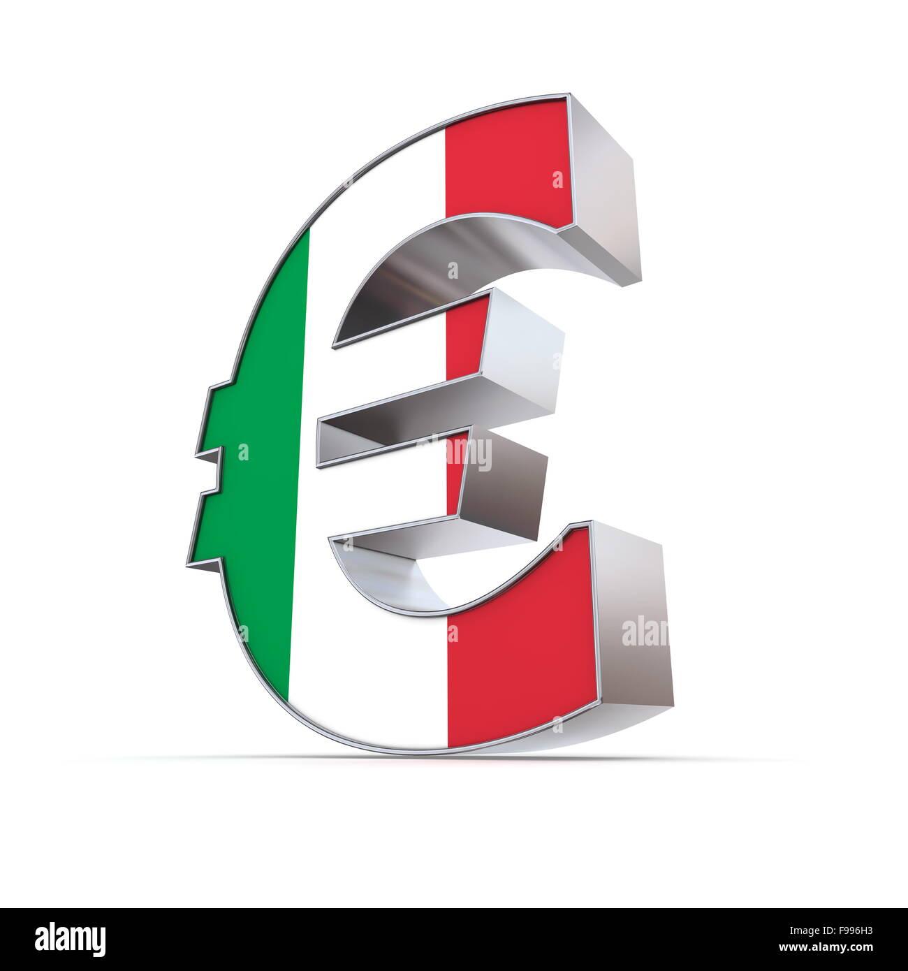 Shiny simbolo Euro - Textured anteriore - bandiera di Italia Immagini Stock