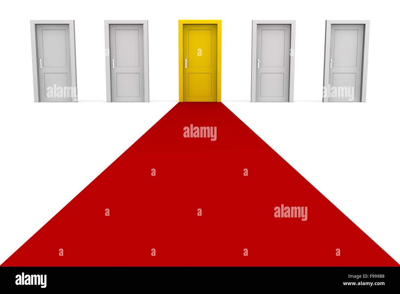 Cinque porte e un tappeto rosso - giallo Immagini Stock