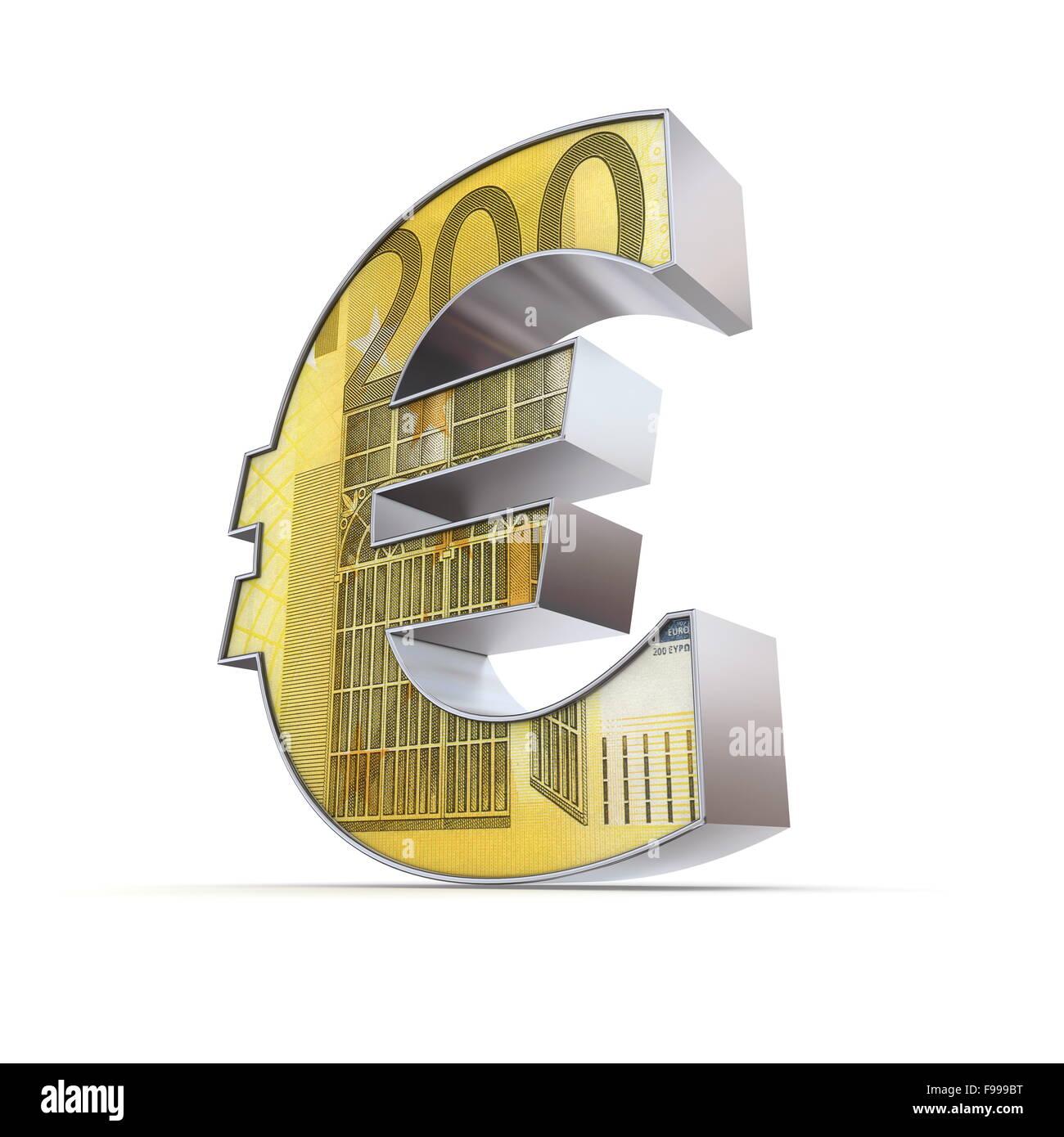 Shiny simbolo Euro - 200 Euro nota Immagini Stock