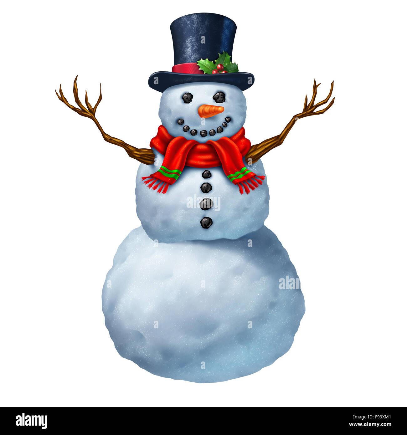 Pupazzo di neve carattere isolato su uno sfondo bianco come un tradizionale magico inverno icona celebrazione festosa Immagini Stock