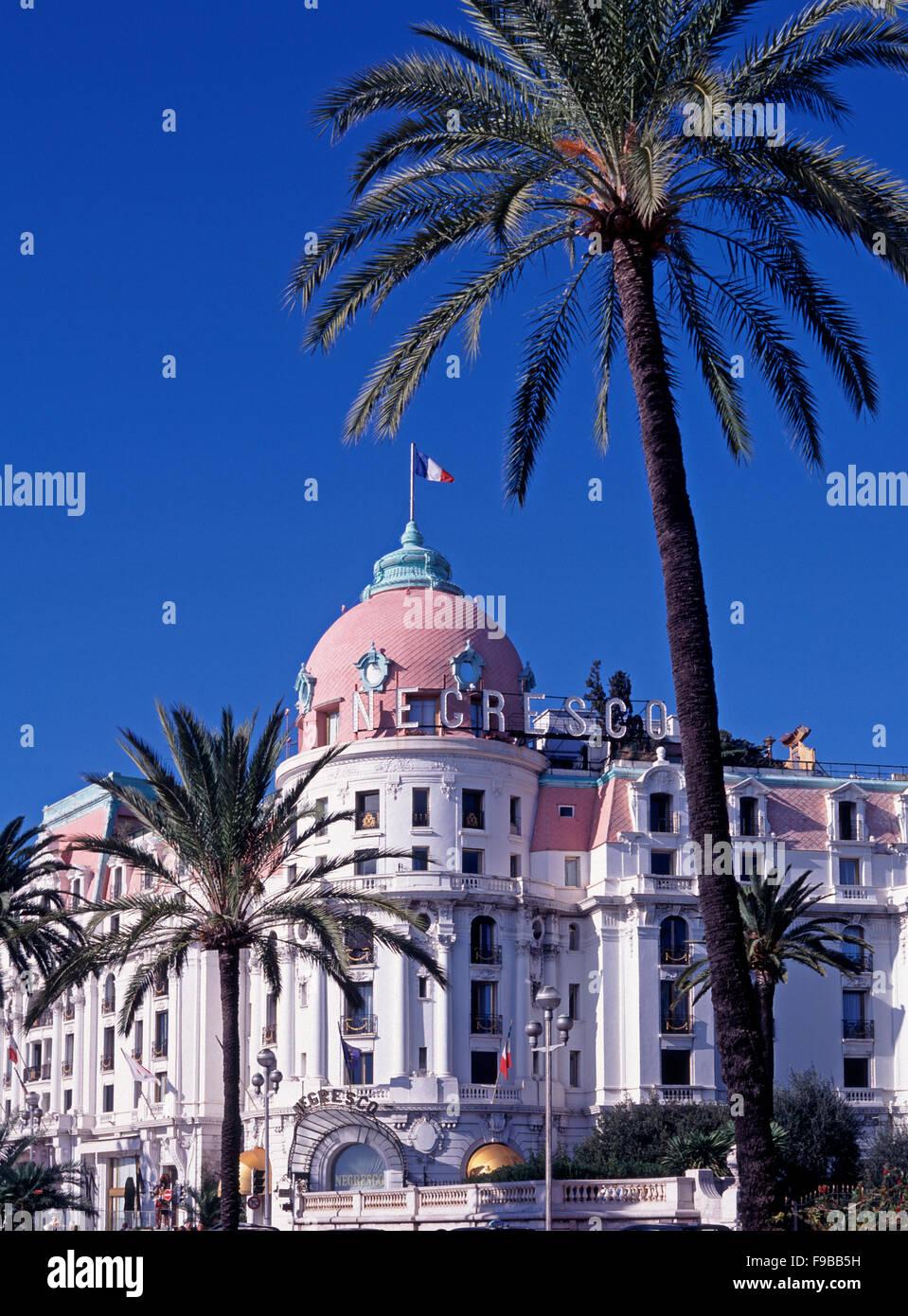 Promenade des Anglais e l'Hotel Negresco, Nizza Cote d'Azur, Costa Azzurra, Francia Immagini Stock