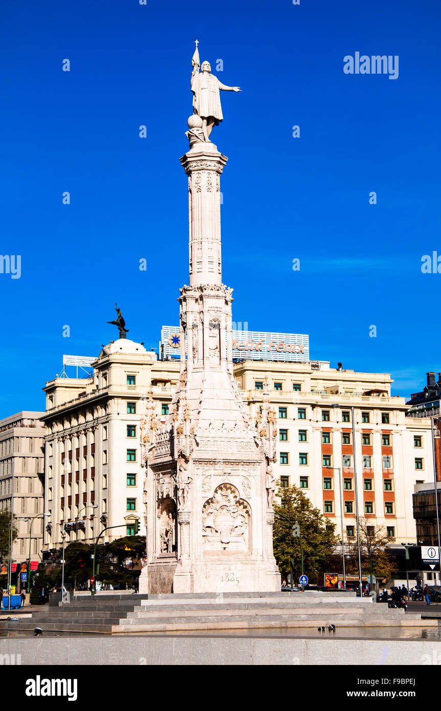 El Monumento a Cristóbal Colón, Madrid, Spagna Immagini Stock