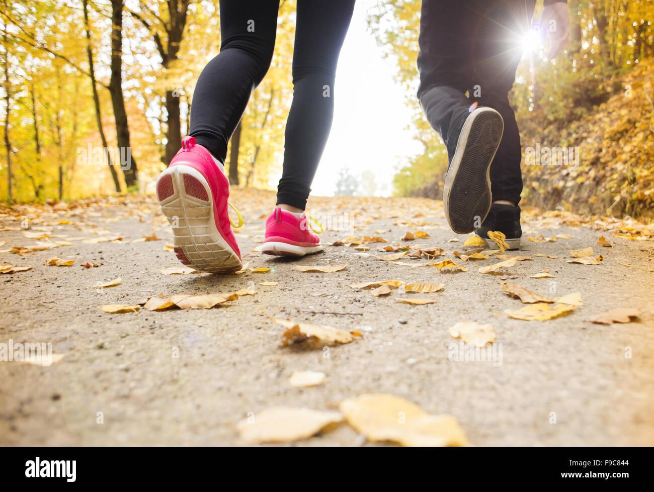 Giovani in esecuzione giovane jogging in autunno la natura Immagini Stock