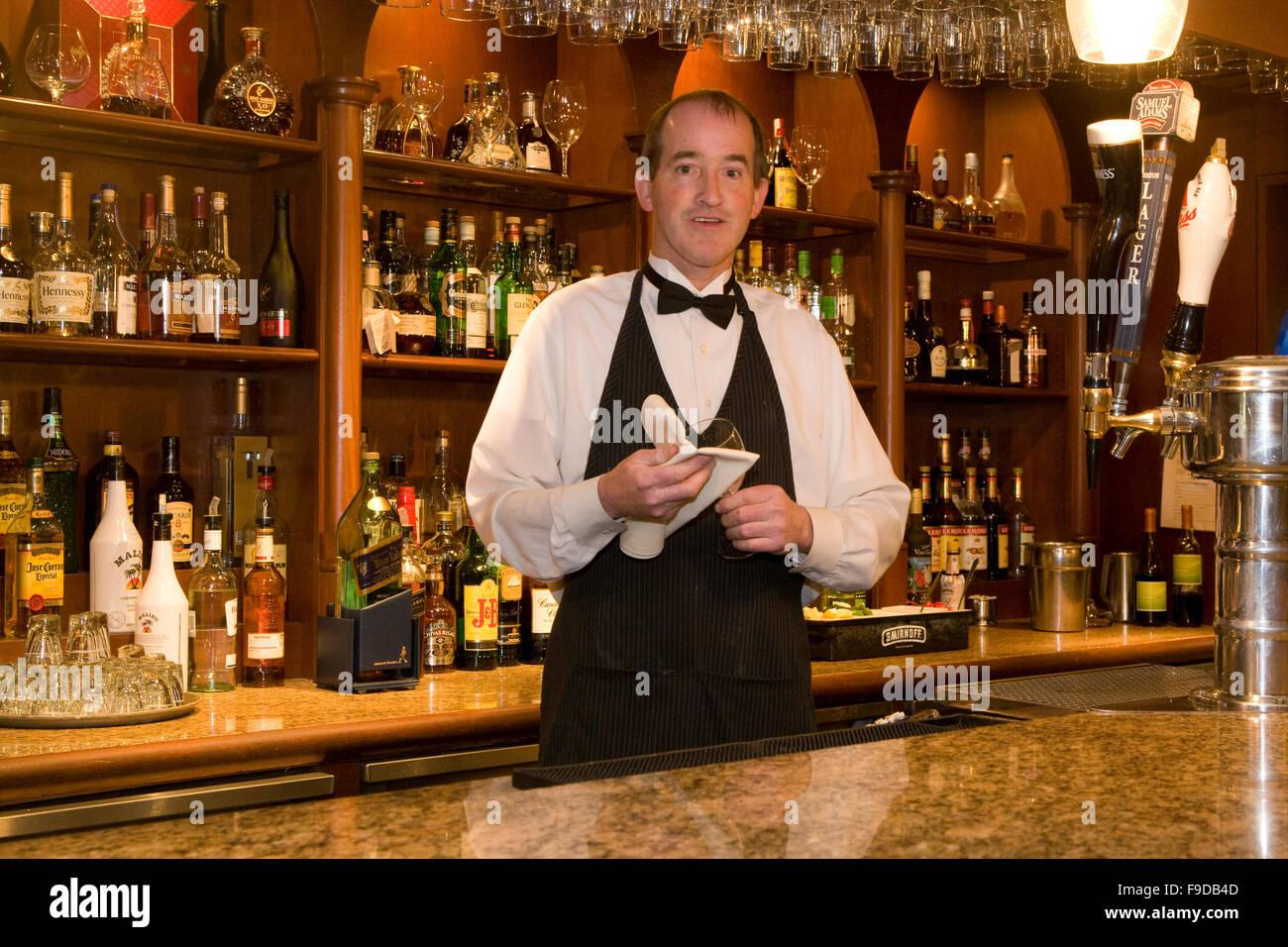 Il Barman che serve bevande Immagini Stock