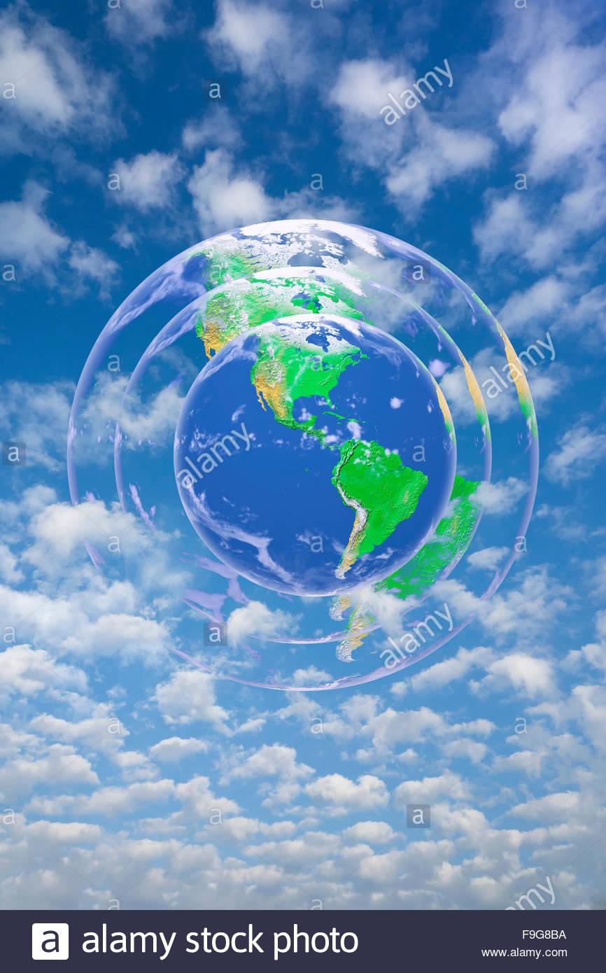Concetto illustrazione di terra circondato dalla sua atmosfera. Immagini Stock