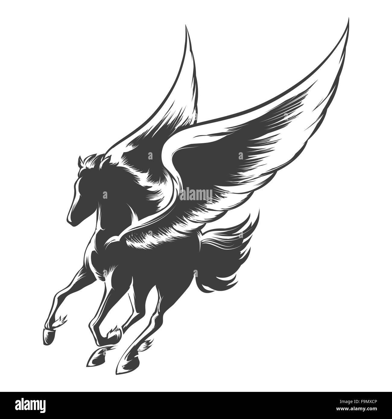 Pegaso Cavallo Alato Disegno.Cavallo Alato Pegaso Illustrazione In Stile Di Incisione