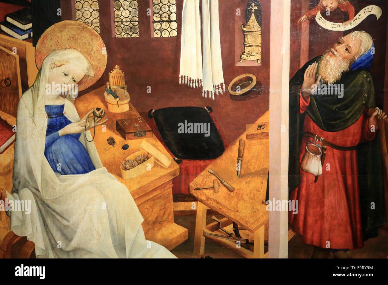 JosephÕs dubbio. Master ParadiesgŠrtlein. 1430. Olio su pannello albero. Oeuvre Notre Dame Museum di Strasburgo. Immagini Stock