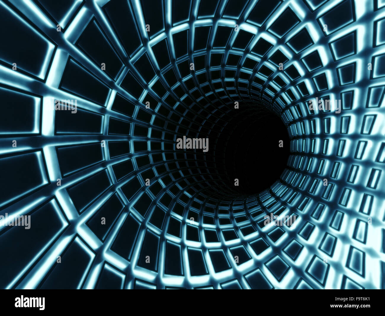 Abstract di nero tunnel digitale interno blu con illuminazione al
