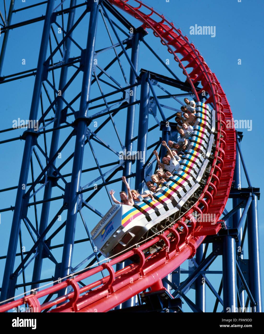 """Il """"Big One"""" Amusement ride a Blackpool Pleasure Beach di Blackpool, Lancashire Regno Unito Inghilterra Immagini Stock"""
