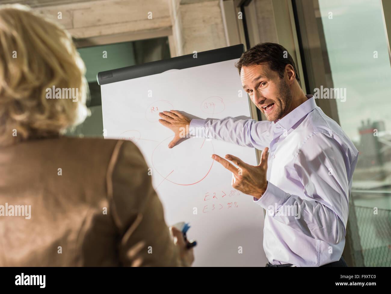 Imprenditore spiegare il suo partner commerciale di un grafico Immagini Stock