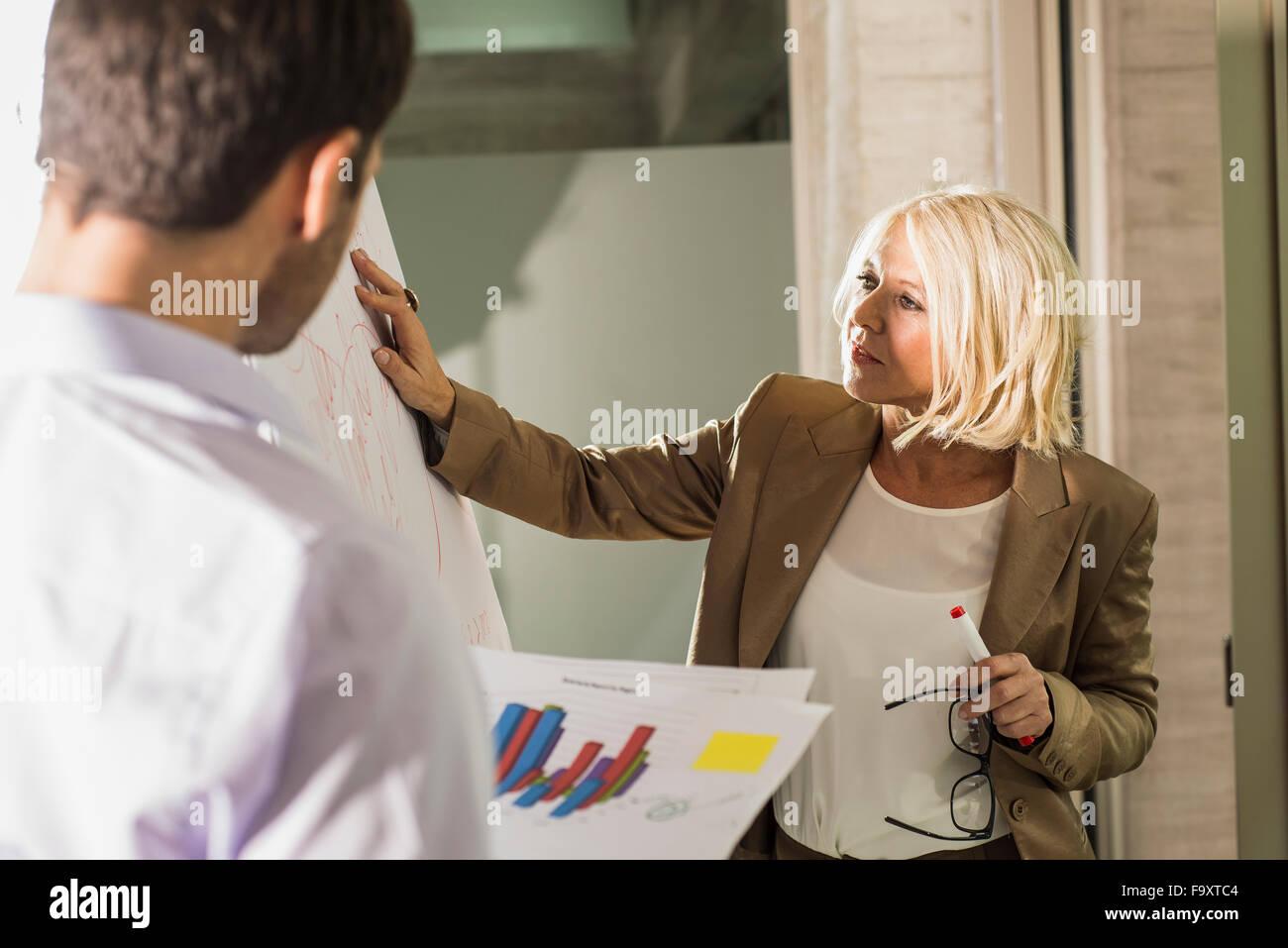 Imprenditrice spiegare il suo partner commerciale di un grafico Immagini Stock