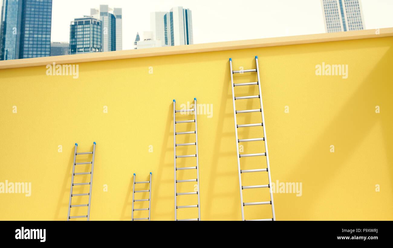 3D Rendering, scale a pioli appoggiata sulla parete gialla nella parte anteriore della skyline Immagini Stock