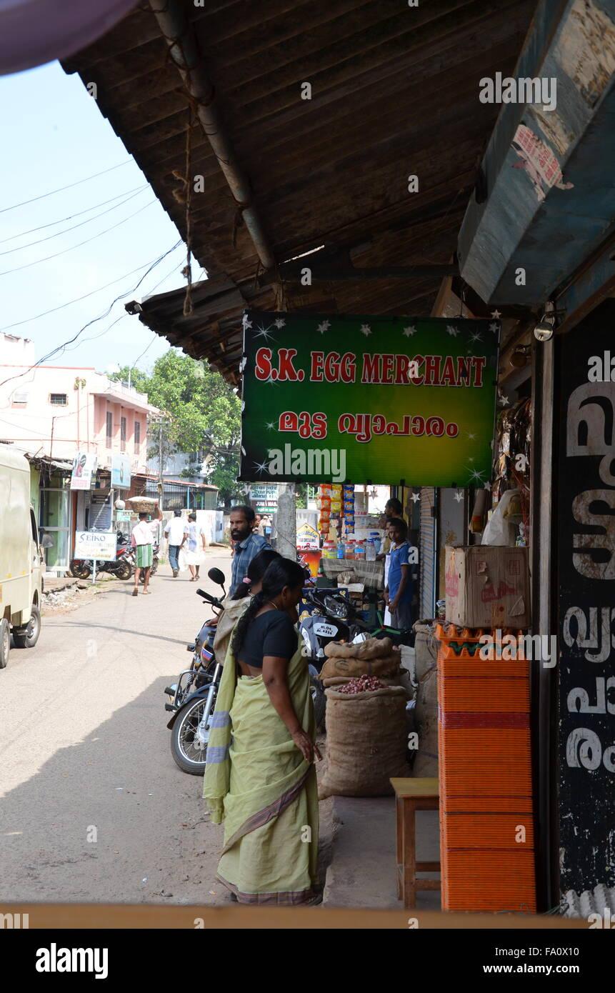 Alleppey, è la sede amministrativa del distretto di Alappuzha del Kerala, stato dell India meridionale lungo Immagini Stock