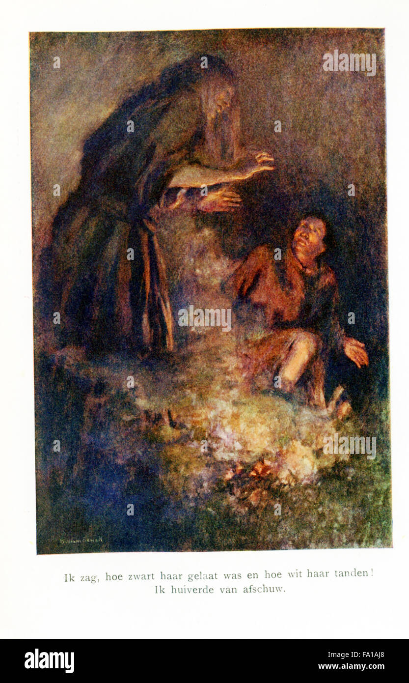 La didascalia per questa illustrazione si legge: ho visto come il nero il suo volto era e grado di bianco le mani! Immagini Stock
