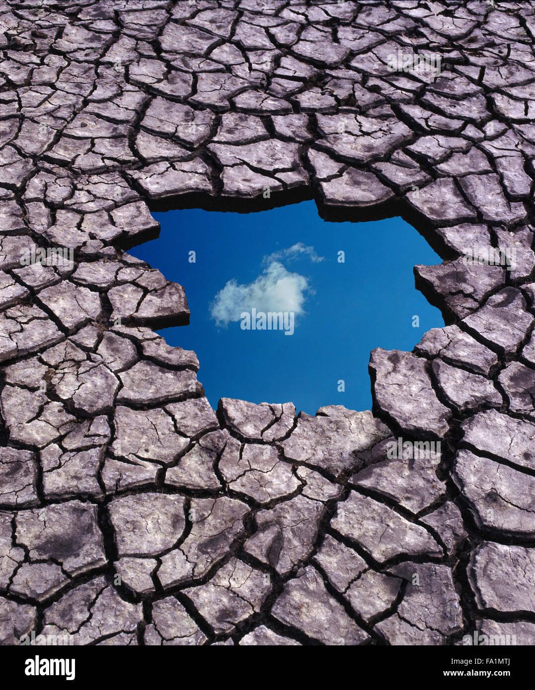 Ottimismo e cielo blu pensando a dispetto del riscaldamento globale Immagini Stock