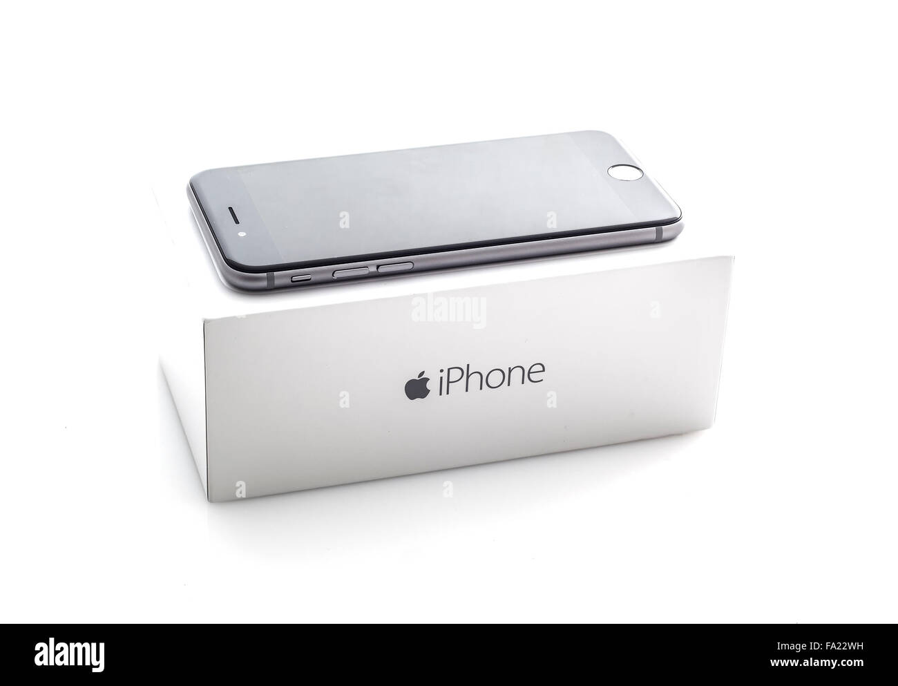 Apple Iphone 6 Nello Spazio Di Colore Grigio Con Scatola Su Uno