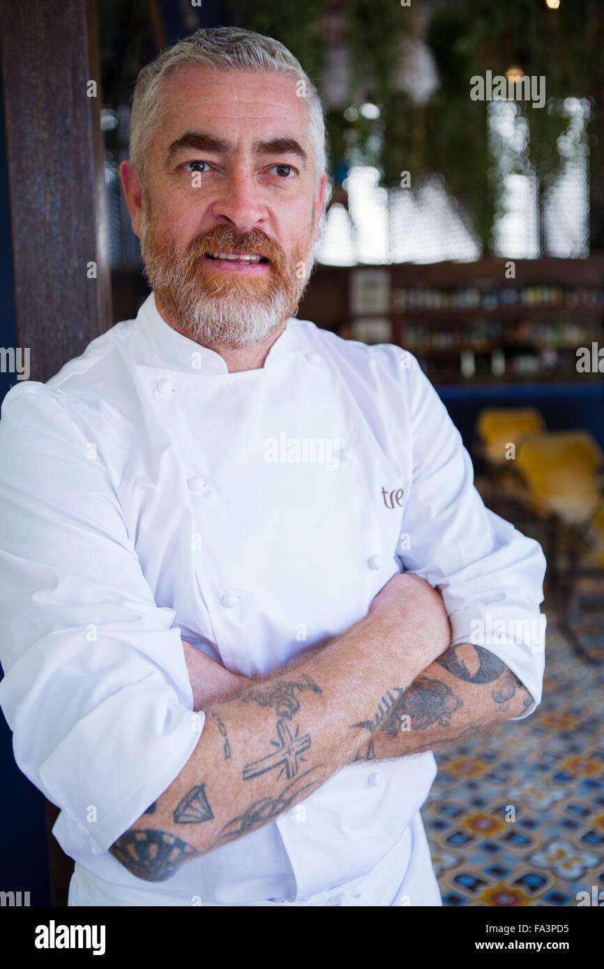 Brasiliano star chef e proprietario del DOM e Dalva e dito ristoranti a Sao Paulo, Alex Atala Immagini Stock