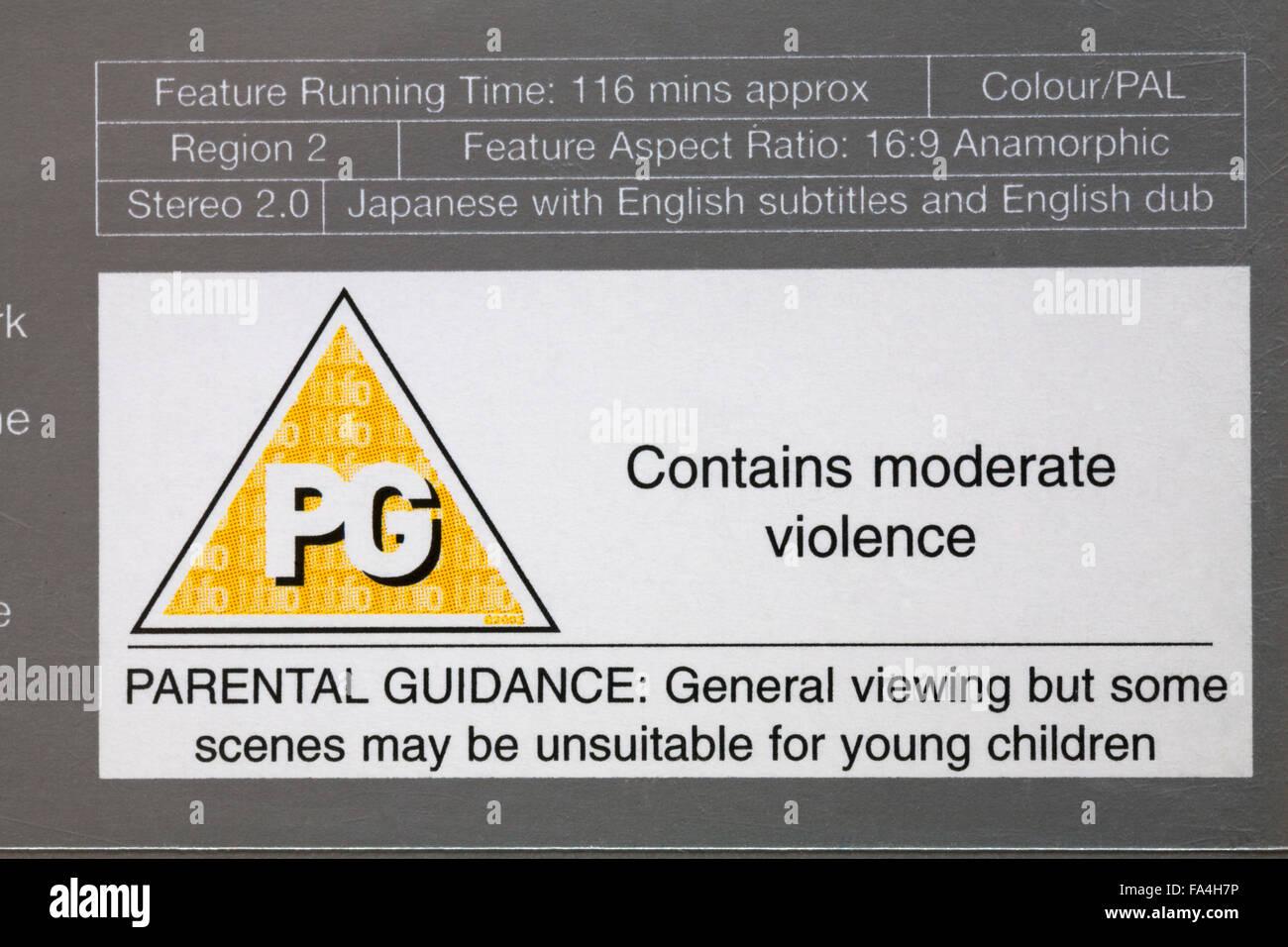 PG di rating sulla custodia del DVD contiene violenza moderata Immagini Stock