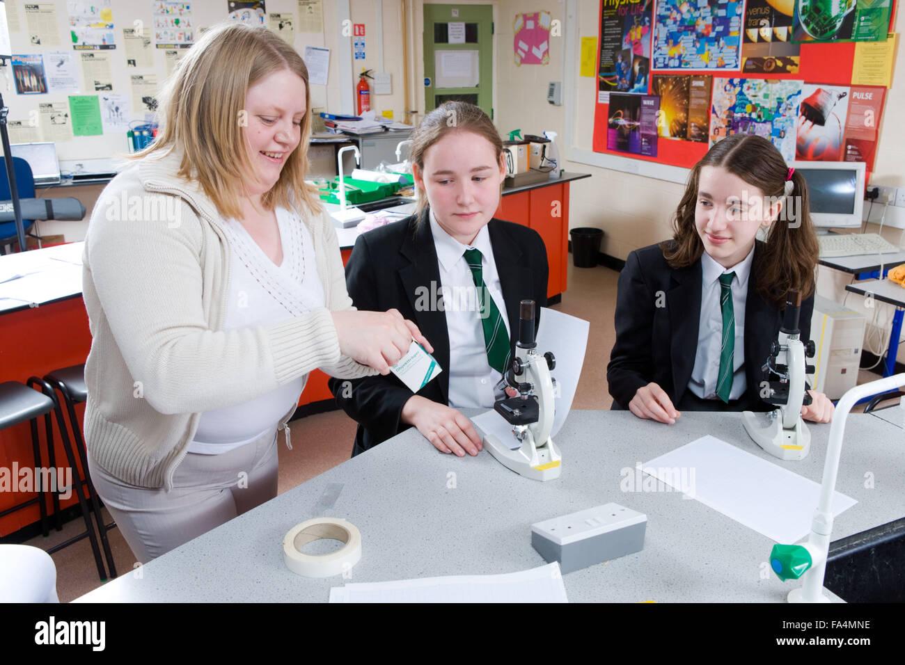 Insegnante preparare vetrini con gli studenti in una lezione di scienze, Immagini Stock