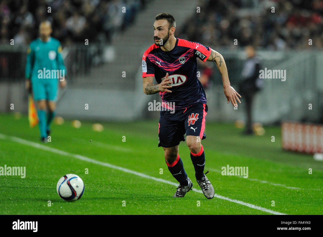 Bordeaux, Francia. Xx Dec, 2015. Stade Bordeaux Atlantique. French League calcio 1. Bordeaux rispetto a Marsiglia. Foto Stock