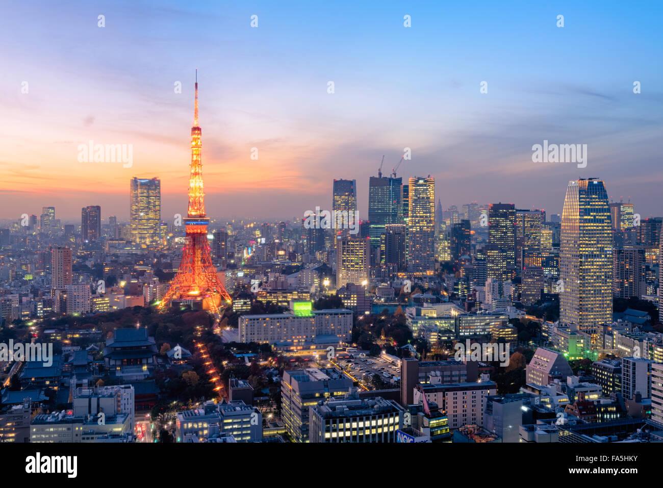 Tokyo, Giappone - Dic 12, 2015: vista notturna di Tokyo dall'alto.Tokyo è la capitale e la città più Immagini Stock