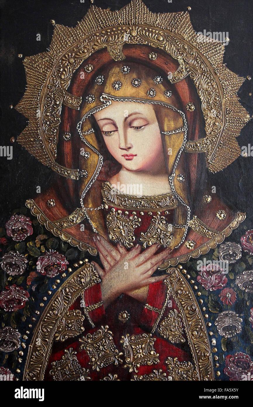 Peruviano di arte religiosa vergine Maria Immagini Stock