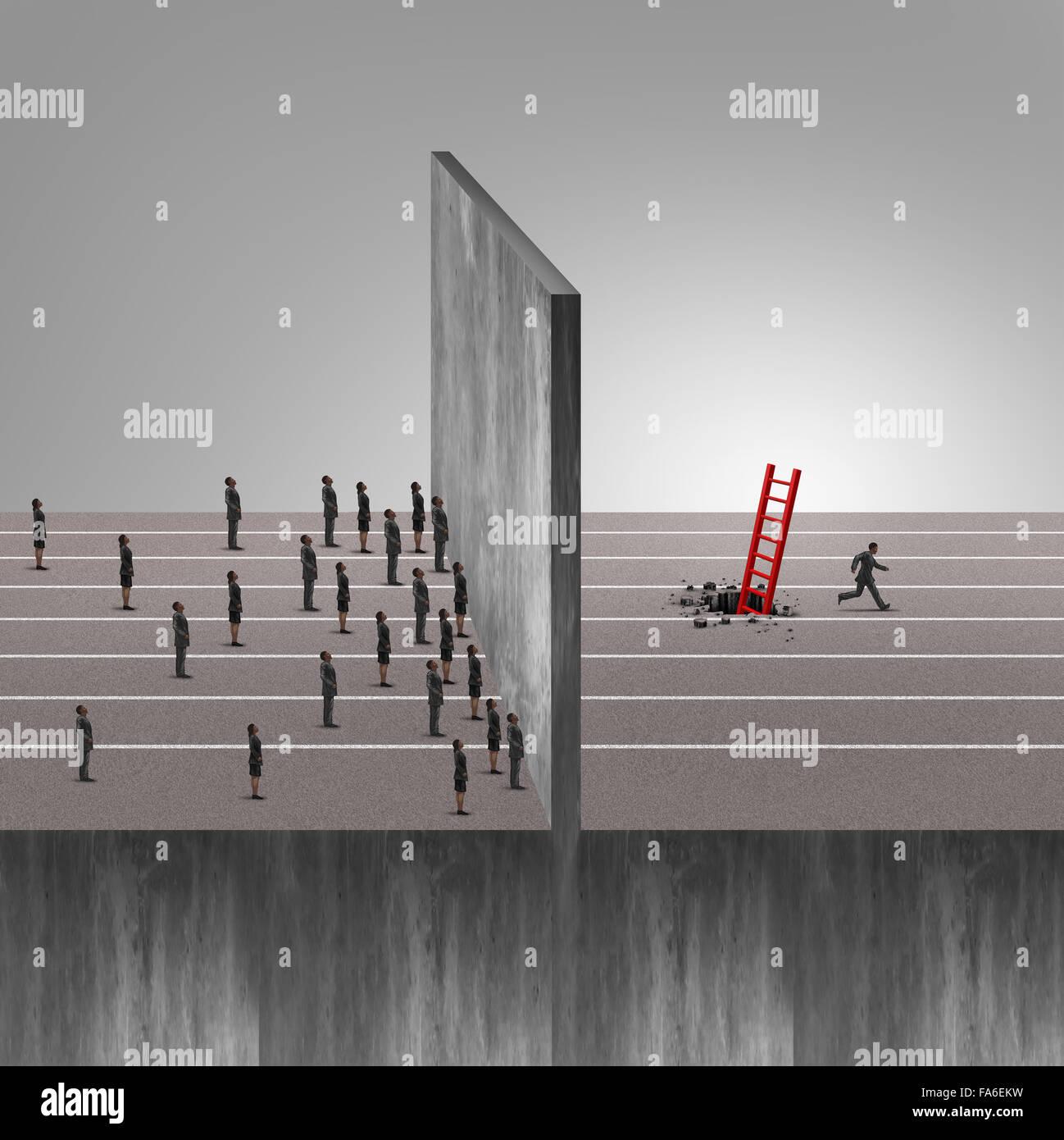 Uomo intelligente il successo del business idea come un gruppo di gente bloccato davanti a un ostacolo di parete Immagini Stock