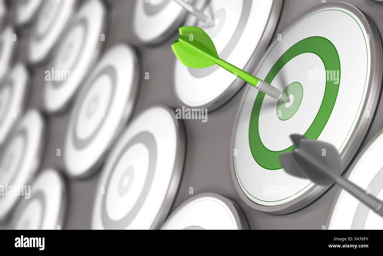 Un dardo colpisce il centro di un bersaglio verde con molti obiettivi grigio intorno ad esso. Concetto di immagine Immagini Stock