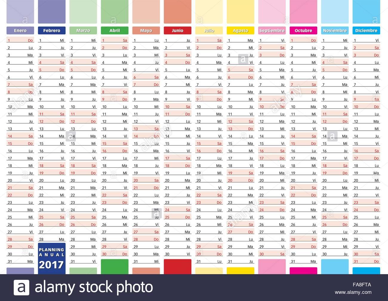 Calendario Anno 2017.2017 Anno Calendario In Spagnolo Elegante Planner Annuale