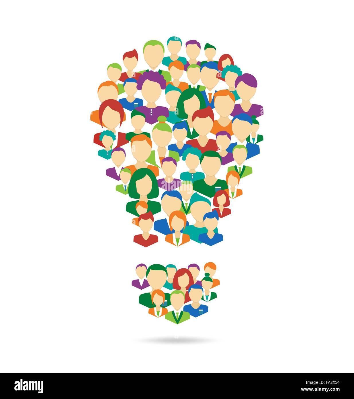 Piatto lampada Idea simboleggiano il processo di crowdsourcing isolato su bianco Immagini Stock