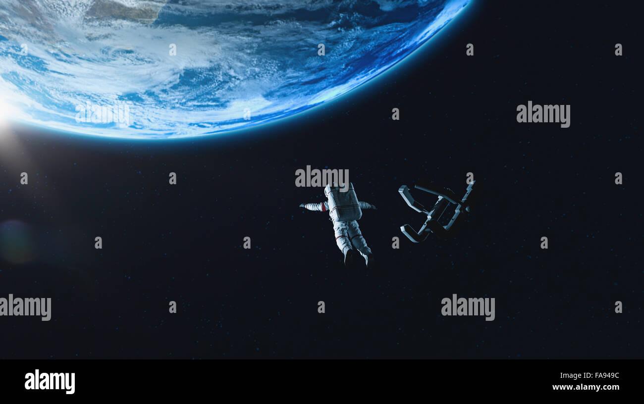 CG gli astronauti nello spazio Immagini Stock