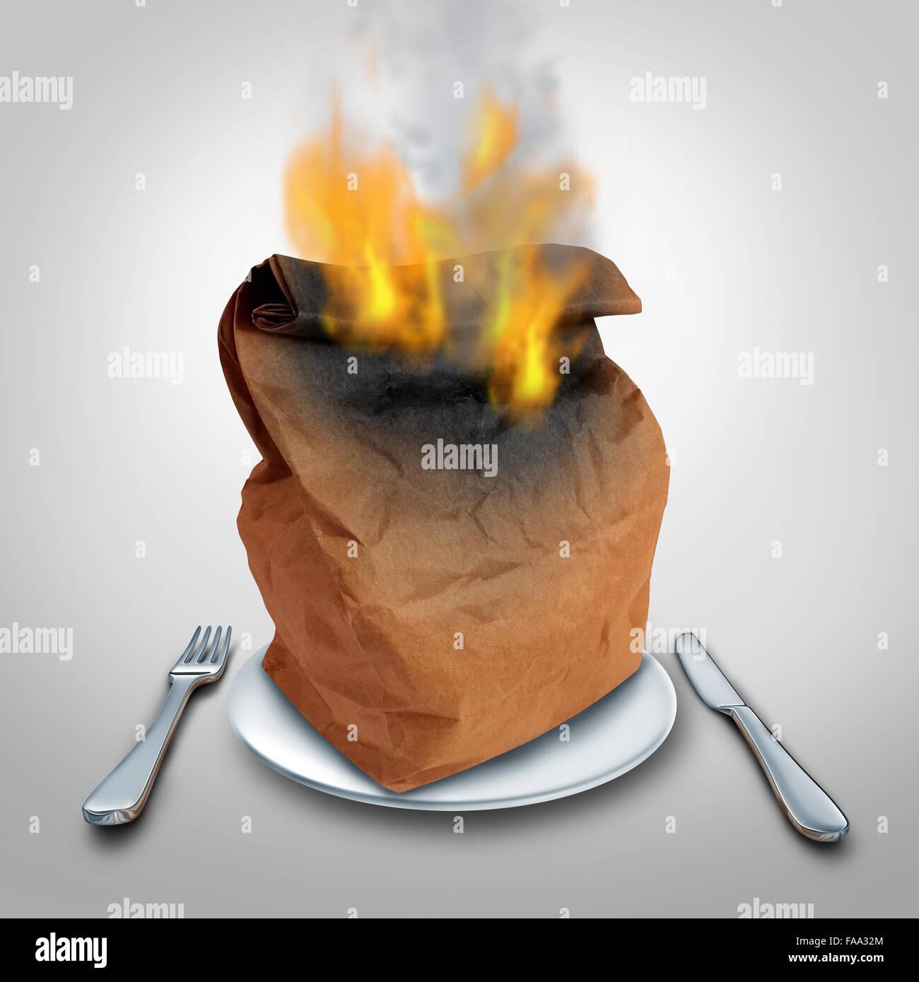 Bruciare calorie o bruciare calorie concetto e pranzo caldo idea o rifiuti alimentari simbolo come una carta marrone Immagini Stock