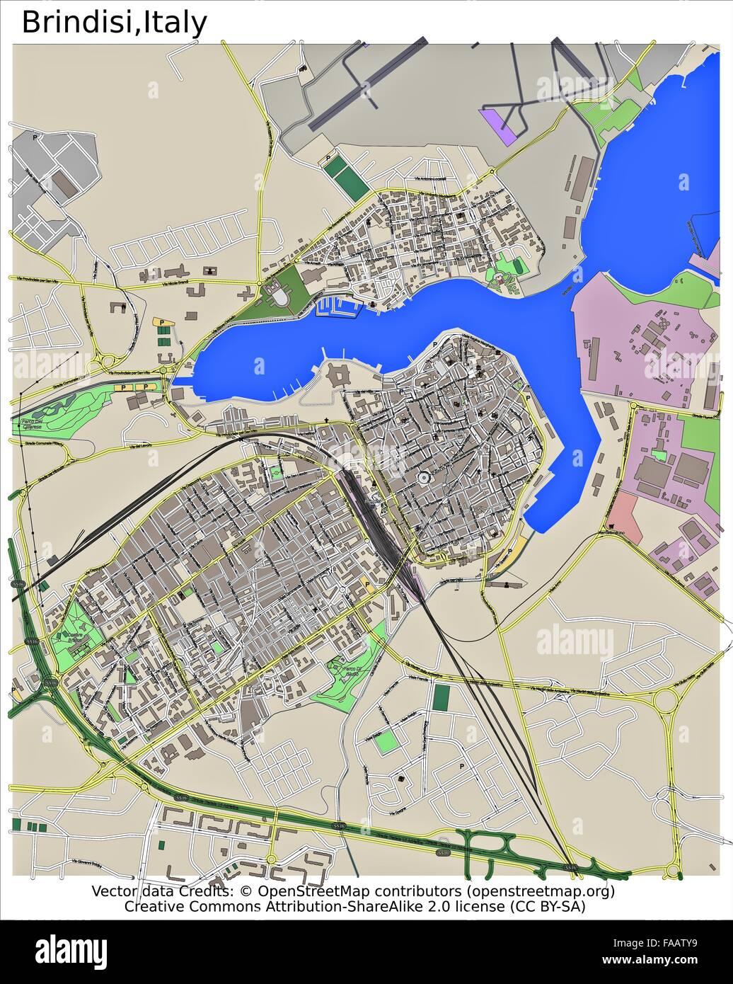 Cartina Italia Brindisi.Brindisi Italia Mappa Della Citta Foto Stock Alamy