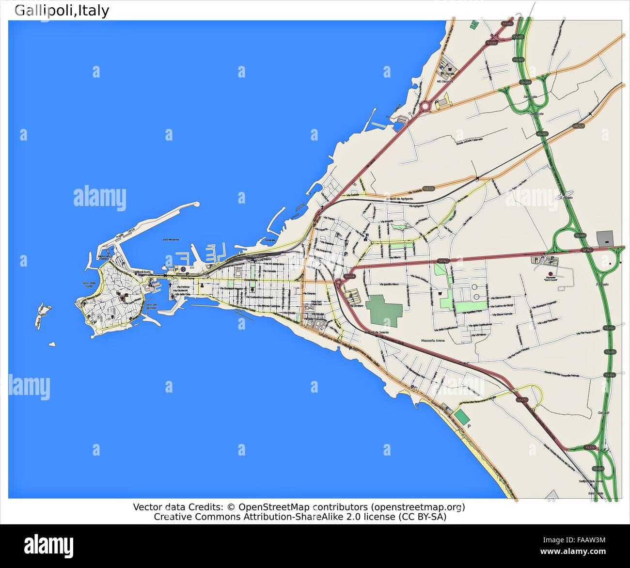 Cartina Geografica Italia Gallipoli.Gallipoli Italia Mappa Della Citta Foto Stock Alamy