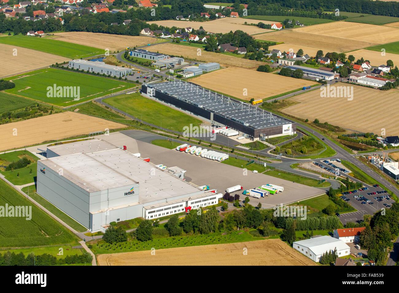 Vista aerea, mobili Hettich, industria del mobile, nel campo di avena, Bünde, East Westfalia, Renania settentrionale Immagini Stock