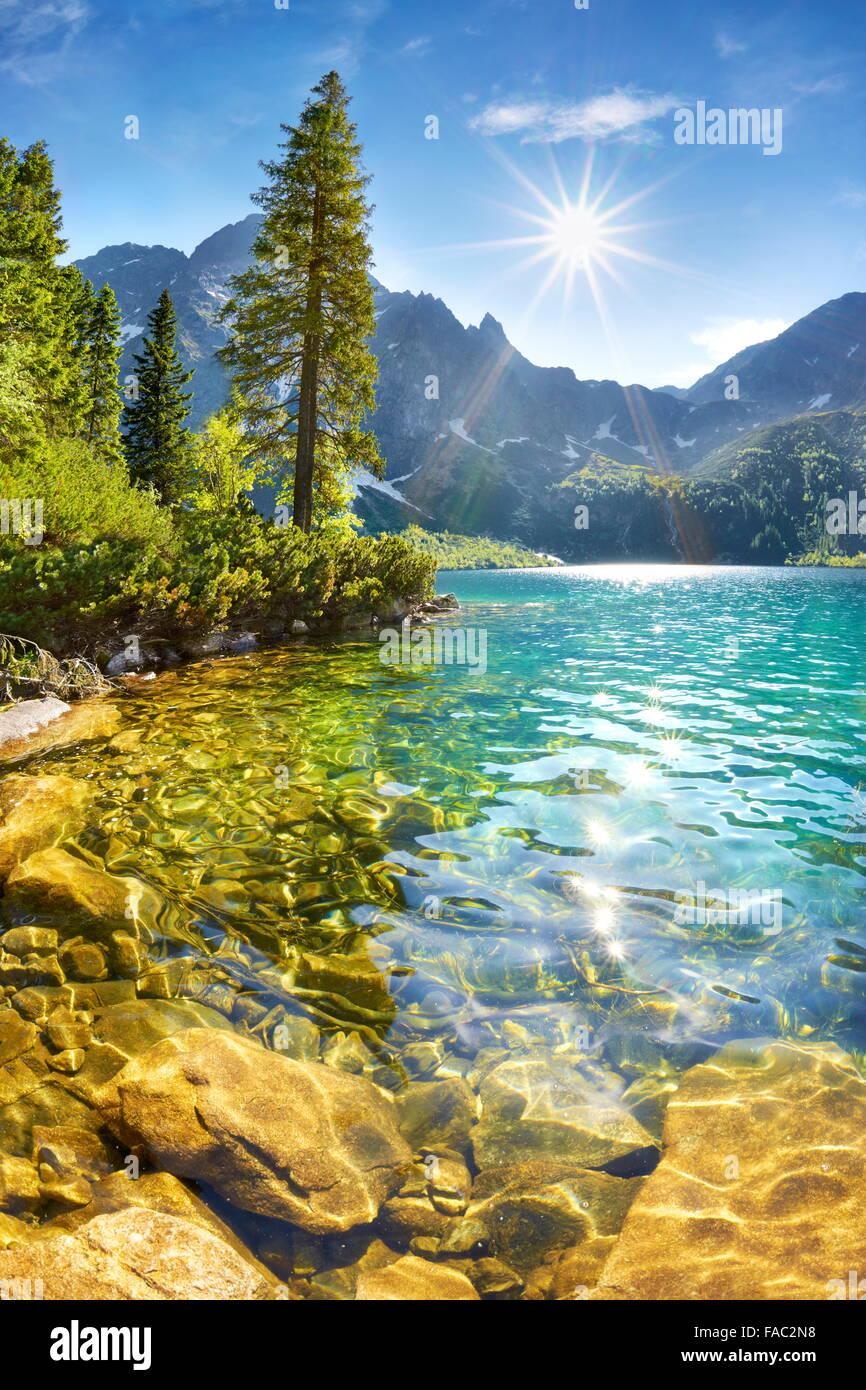 Morskie Oko lago e monti Tatra, Polonia Immagini Stock